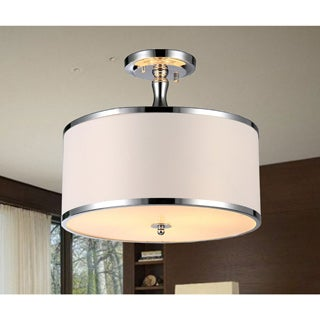 Olive 3-light White Fabric 15-inch Chrome Pendant Lamp