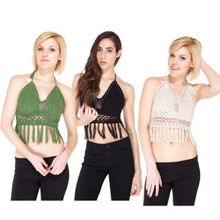 Hand Crochet Halter Top with Funky Fringe (Nepal)