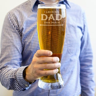 Etched 54 Ounce Beer Pilsner Glass for Father