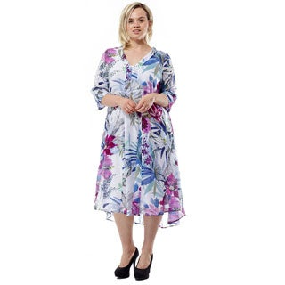 La Cera Women's Plus Size 3/4 Sleeves Printed High-Low Caftan
