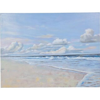 Calm Beach Paradise Smooth Sand and Clear Water Beachfront Scene Artwork Painting Canvas Artwork