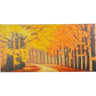 Pristine Trail Autumn Trees and Autmn Leaves Canvas Artwork