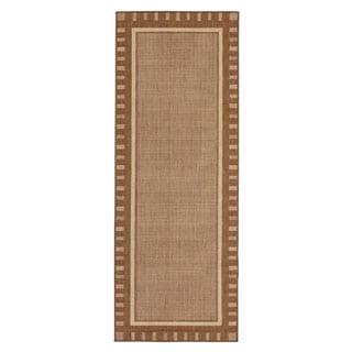 Berrnour Home Summer Collection Bordered Design Indoor/Outdoor Jute Backing Runner Rug (2'7 x 7')