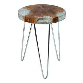 Kakalina Side Table Small in Icy Wood with Iron Legs