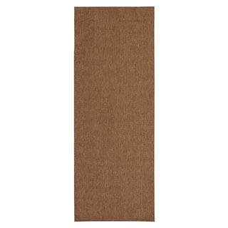 Berrnour Home Summer Collection Solid Design Natural Cream Jute Backing Indoor/Outdoor Runner Rug (2'7 x 7'0)