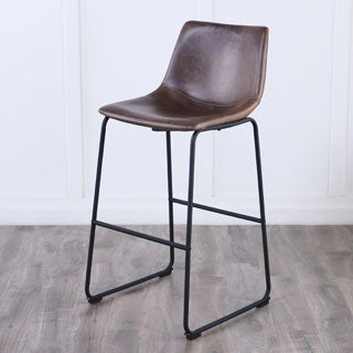 Brown Faux Leather Barstools (Set of 2)