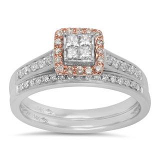 Sterling Essentials 14k White and Rose Gold 1/2ct TDW Diamond Engagement Set (I, I1-2)