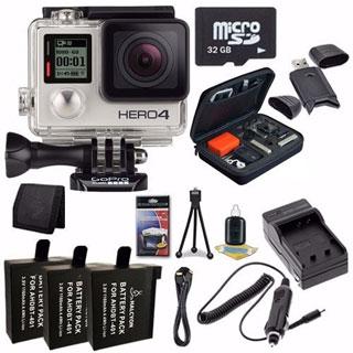 GoPro HERO4 Silver Waterproof Camera 32GB Bundle