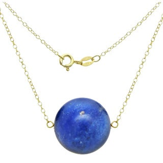 DaVonna 18k Gold over Silver Cable Chain Necklace wit 18mm Blue Lapis Round Gemstone as Pendant Necklace