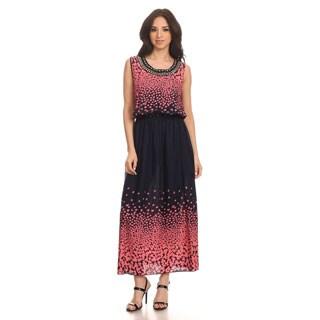 High Secret Women's Sleeveless Printed Embellished Maxi Dress