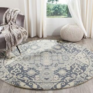 Safavieh Handmade Restoration Vintage Charcoal/ Ivory Wool Rug (6' Round)