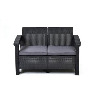 Keter Corfu Grey Resin All Weather Outdoor Patio Love Seat with Cushions