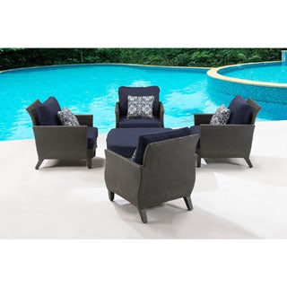 Hanover Outdoor Savannah 5-piece Chat Set in Navy Blue