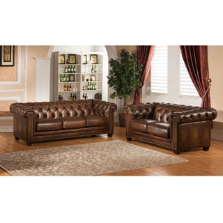 Luxe Hand Rubbed Brown Top Grain Tufted Leather Sofa and Loveseat Set