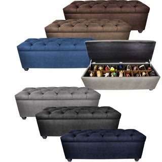 MJL Furniture The Sole Secret Obsession Espresso Wood and Metal Diamond-tufted Shoe Storage Bench