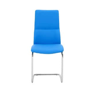 Charlotte Blue Faux Leather/Stainless Steel Dining Chairs (Set of 2)