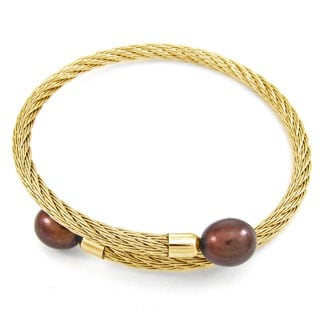 DaVonna Stainless Steel 9-10mm Brown Long Shape Pearl Expandable Bangle Bracelet