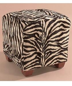 Zebra Print Cube Ottoman