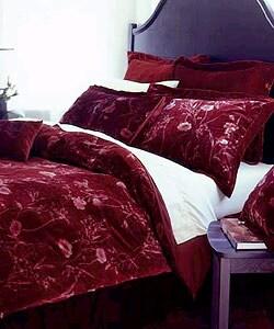 Velvet Burgundy Floral Comforter Set