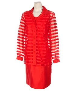 Sag Harbor Red Sheath Dress with Organza Jacket