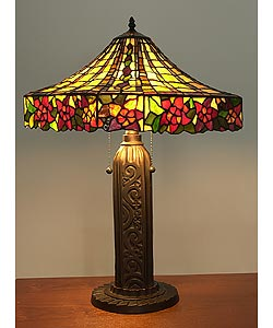 Tiffany-style Rose Mission-style Table Lamp