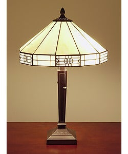 Tiffany-style Mission-style White Table Lamp