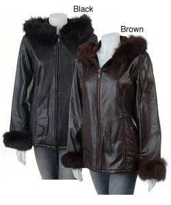 Marvin Richards Hooded Fox Fur Trim Leather Jacket - Overstock