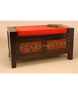 Wood and Glass Reverse Painted Cushioned Bench (Peru)