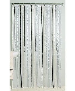 Ribbons Black White Silver Shower Curtain 424478 Shopping The Best Prices On