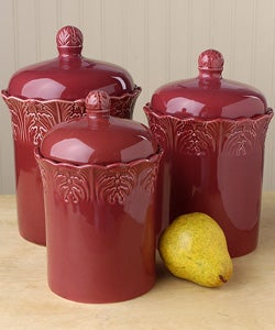 antiqua burgundy canister set of 3 425030 overstock