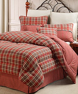 Mulberry red green plaid king size comforter set 425257 overstock