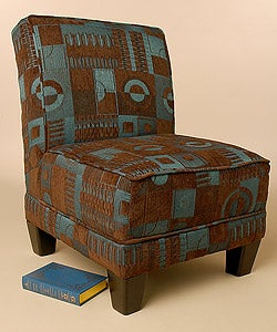 Brown & Teal Pattern Blocks Welted Chair