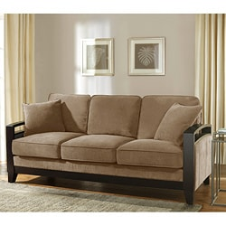 New Haven Cocoa Wood Arm Sofa 80001926 Shopping Great Deals On Sofas Loveseats