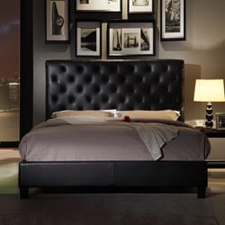 Sophie Tufted Dark Brown Faux Leather Queen-size Platform Bed