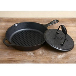 Lodge Logic 10.25-inch Grill Pan with Grill Press