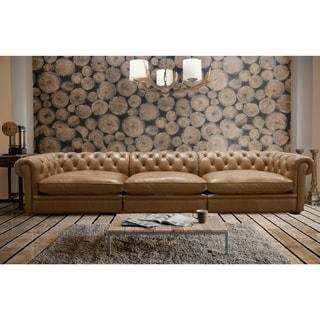 Abraham 142-inch 3-piece Aurora Honey Leather Sofa Set