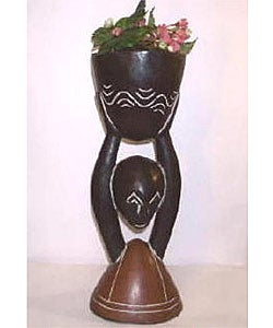African Wood-carved Medium Flower Pot (Ghana)