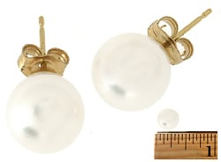DaVonna 14k Gold White Akoya Pearl Stud Earrings (8.5-9 mm )(Case of 4)
