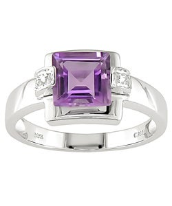 14k White Gold Diamond Amethyst Ring