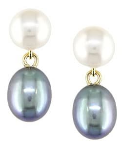 14kt Yellow Gold Cultured Black & White Freshwater Pearl Earrings