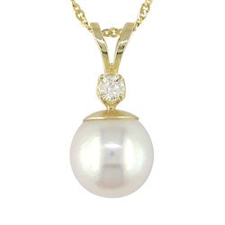 Miadora 14-kt. Diamond Cultured 8-8.5 mm Pearl Pendant