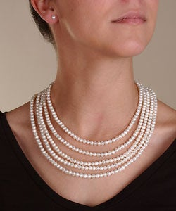 DaVonna Freshwater Cultured Pearl Necklace/ Earrings Set (5-5.5 mm)