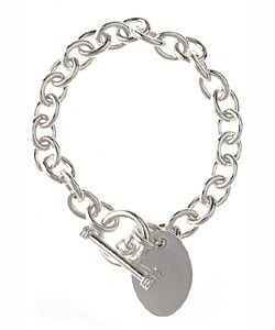 Sterling Essentials Sterling Silver Oval-shape Pendant Bracelet