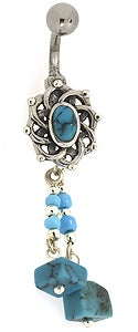 CGC Stainless Steel Turquoise Dangling Barbell Belly Ring
