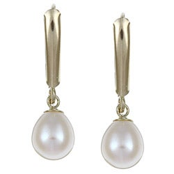 DaVonna 14k Gold Cultured White FW Pearl Leverback Earrings (6-7 mm)