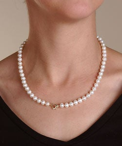 14k Gold Freshwater Cultured Pearl Necklace (7-8 mm/ 18 in)