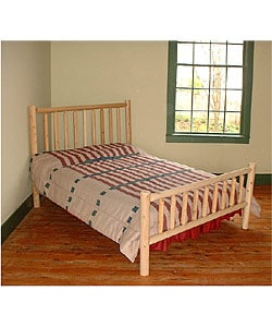 Rustic log pole cedar adirondack bed queen 927131 shopping great deals on beds - Adirondack bed frame ...