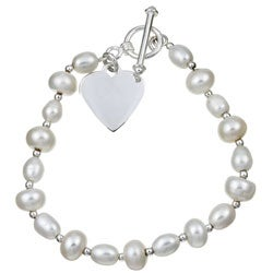Sterling Essentials Sterling Silver 7-inch Freshwater Pearl Heart Bracelet