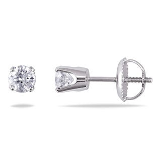 14k White Gold 1/2ct TDW Round Diamond Stud Earrings