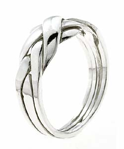 Tressa Sterling Silver 4-piece Puzzle Ring